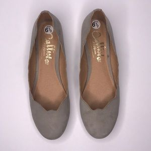 Callisto of California Scalloped Faux Suede Flats